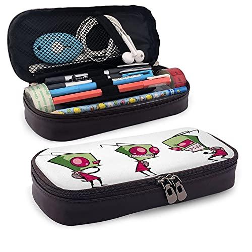 Invader-Zim - Estuche de gran capacidad para lápices, gran capacidad de almacenamiento, bolsa de mano, múltiples compartimentos con doble cremallera, organizador portátil de escuela secundaria