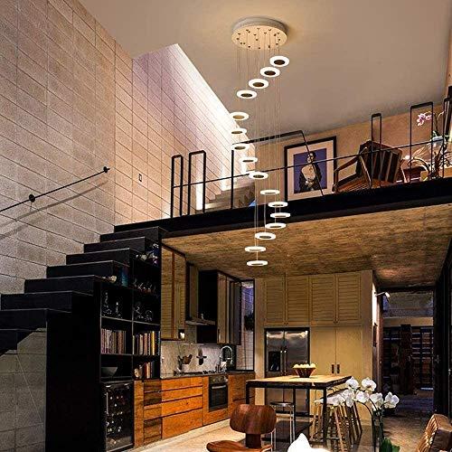 Lámpara colgante redonda de techo para escaleras, moderna, creativa, LED blanco cálido, salón, comedor, lámpara colgante, lámpara de araña, escalera, Hall, Hotel Shop, decoración, 16 luces