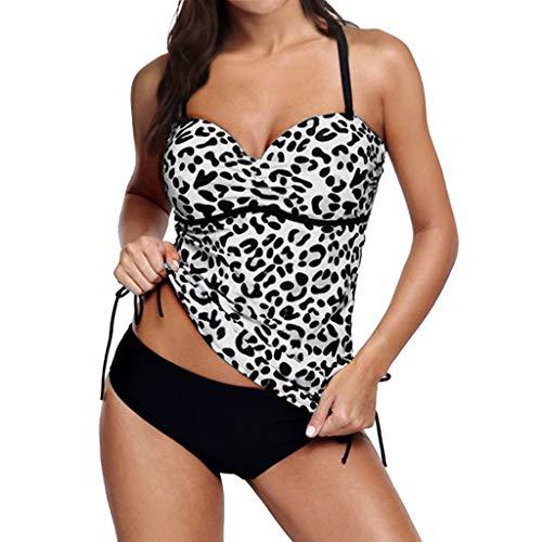 Zegeey Damen Tankini Mit Hotpants Badebekleidung Zweiteilig Mit Drucken Bademode BadeanzüGe Push Up Strandkleidung Set(Grau,36 DE/M CN)