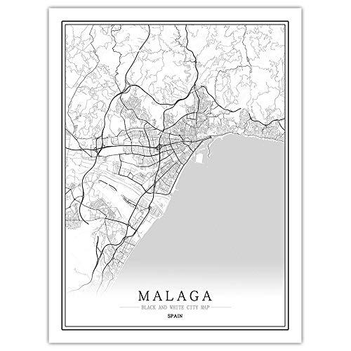 DRTWE Cuadros Decorativos España Negro Blanco Mundo Málaga Ciudad Mapa Pared Arte Impresión Imágenes Lienzo Pinturas para La Sala De Estar Home Dormitorio Decoración,60X80Cm Sin Marco