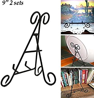 Adorox 2 PC of (9'') Tall Black Iron Display Stand Holds Cook Books, Plates, Pictures & More!