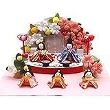 雛人形 ひな人形 お雛様 親王飾り5人飾り 桃の節句 初節句 ちりめん おひなさまコンパクト かわいい ぷりてぃ舞桜 花舞台