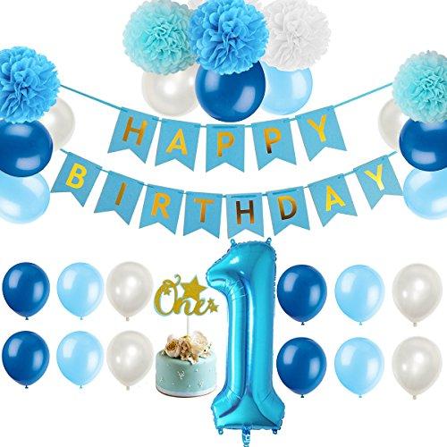 First 1st Birthday Boy Decorations Kit - Boy Color Little Man Kid First Birthday Decorations-Number One Balloon-1st Birthday Cake Topper Birthday Banner Pom Poms Balloons Baby Shower Decor (m, blue)