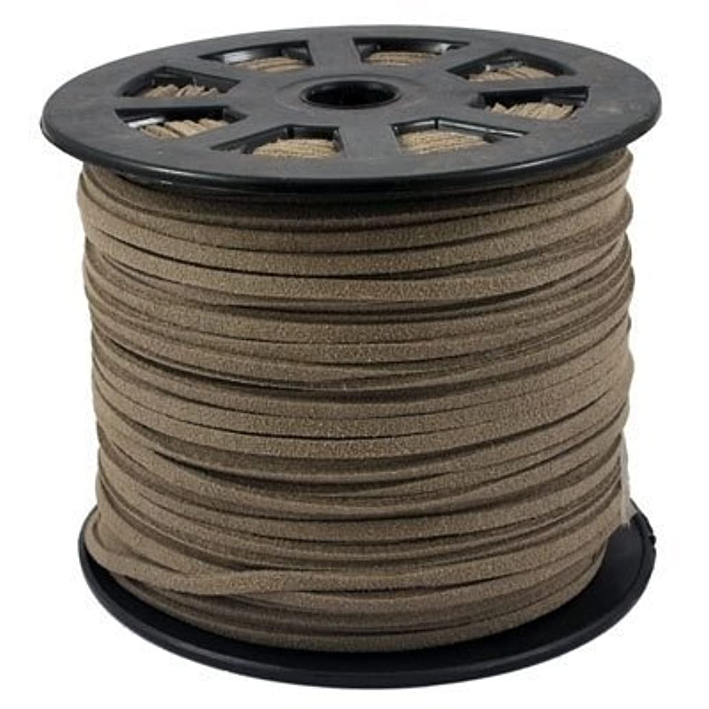 BeadsTreasure Gray Suede Cord Lace Leather Cord For Jewelry Making 3x1.5 mm-20 Feet.