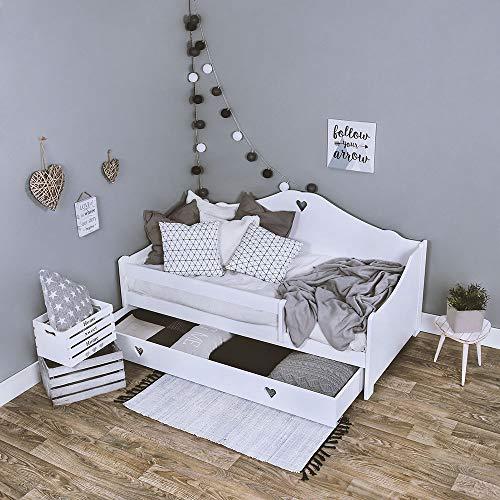 KAGU Kinderbett CANDY Liegefläche 160 x 80 cm, Gewicht ca. 47 kg, Holzbett für Kinder, Bett aus Holz, Kinderbett mit Matratze, aus Kiefernholz, Bettkasten zum Verstauen von Bettwäsche, (White)