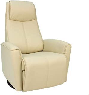 Fjords Urban Small Power Recline Swivel Swing Relaxer Recliner Chair in SL 229 Latte Soft Line Leather