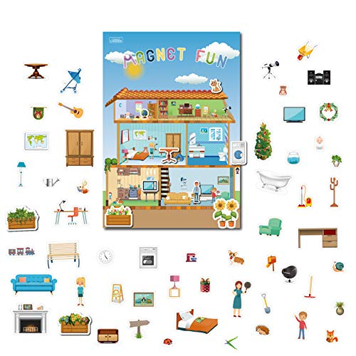 GrandLmoon Magnetic Portable Playboard Doll House Family Magnets for Todder Kids Perfect Preschool Learning Travel Toy (65 Pcs )