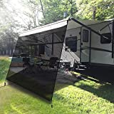 EXCELFU RV Awning Sun Shade Screen with Zipper 15' x 9' - Black Mesh UV Blocker RV Awning Shade Complete Kits for Motorhome Travel Trailer Canopy Shelter (5 Years Warranty)
