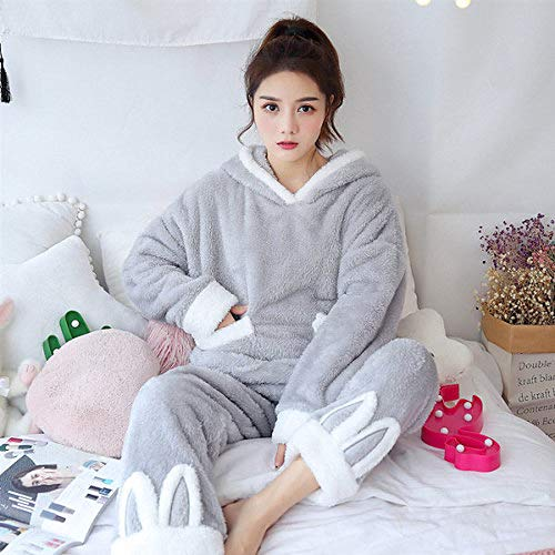 JFCDB Bademantel, Weihnachten Pyjamas Frauen Winter Warme Samt Verdickung Flanell Nachtwäsche Set Nette Mit Kapuze Pyjamas Loungewear Frauen, RHS A23 HUI er Duo, L