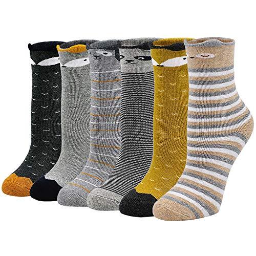 LOFIR Dicke Kinder Socken aus Baumwoll Winter Warme Thermo Socken für kleine Mädchen Jungen Kleinkind Neuheit Socken Größe 31-34, für 8-11 Jahre, 6 Paare