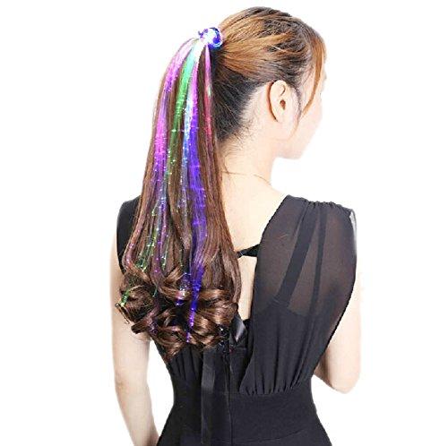 DELEY 10 Pack LED Lumière de la Fibre Optique à Cheveux Barrette Clip Partie Clignotant Extensions de Cheveux Couleur Aléatoire