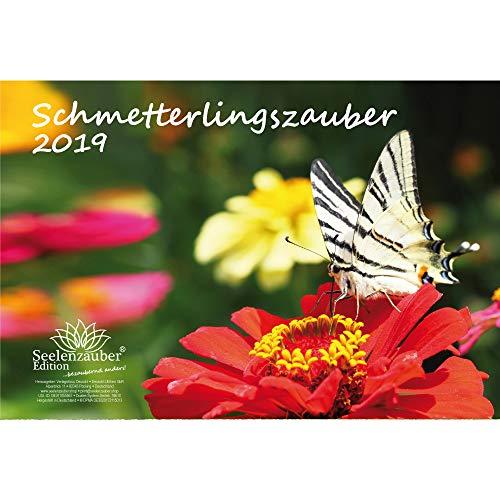 Vlindermagie · DIN A4 · Premium kalender 2019 · vlinder · bloemen · kleuren · Cadeauset met 1 wenskaart en 1 kerstkaart · Edition Zelmagie