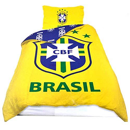 Brazil Juego de funda de edredón y funda de almohada, diseño de escudo de fútbol oficial (polialgodón y reversible)
