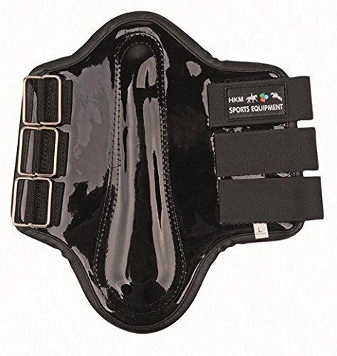 HKM Sports Equipment GmbH Ghette–di Cuoio Artificiale con Cucchiaio, Nero