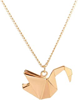 Origami Swan Necklace Charm Women Maxi Elegant Collar Jewelry Pretty Chain Pendant Choker Party Couples Bridesmaid Gift