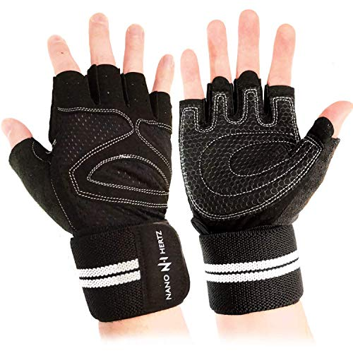 NH Weight-Lifting Workout Gloves with Wrist Wraps | Gym Fitness Training Hand Grips Accessories | Support Power Weight Lifting, Rowing, Pull Up for Men & Women