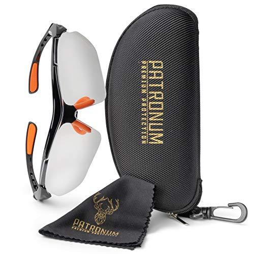 PATRONUM Premium Protection Schutzbrille mit hochwertigem Brillenetui und Microfaserputztuch – Kratzfest - Beschlagfrei - UV-Schutz - Ideal für Baustelle, Werkstatt, Garten und Sport