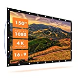 Best Carls Place Projector Screens - Krossgain 150 inch Projector Movies Screen Portable 16:9 Review