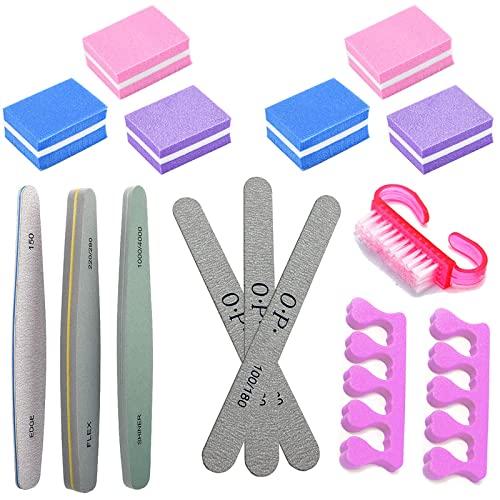 Juego de 15 limas de uñas de esponja profesional para uñas de esponja, cepillo para uñas y pies. Varias especificaciones adecuadas para pulir herramientas de uñas. Pulir las uñas