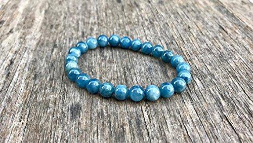 LOVEKUSH Pulsera de aguamarina azul elástica de 7 mm, redonda, lisa, de 7 pulgadas, para hombres, mujeres, gf, bf y adultos.