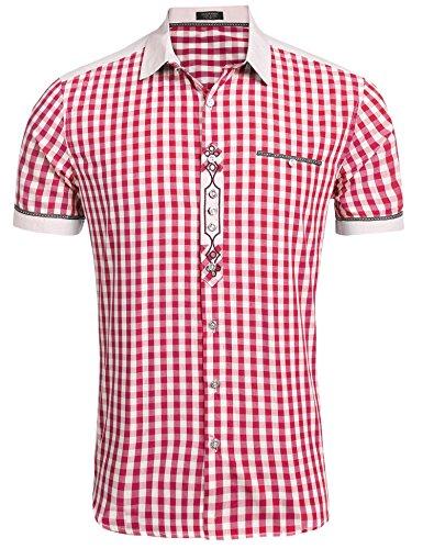 Burlady Trachtenhemd Herren Hemd Kariert Oktoberfest Cargohemd Baumwolle Freizeit Hemden Super Qualität- Gr. XXL, Kurz-Rot