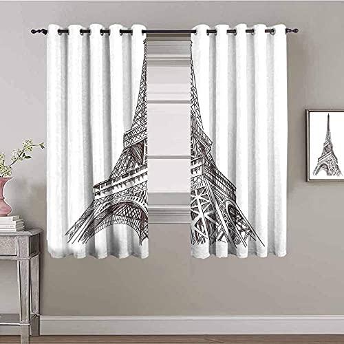LTHCELE Zasłony zaciemniające do sypialni - Prostota moda wieża architektura - Oczkami z nadrukiem 3D izolowane termicznie - 140 x 160 cm - Zasłony zaciemniające 90% do pokoju zabaw dla dzieci chłopcó