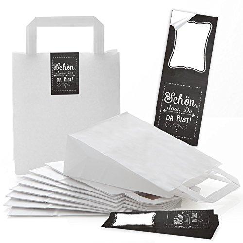 25 weiße Papiertüten Papier-Tragetasche Geschenk-Tüte Boden 18 x 8 x 22 cm kleine Papiertaschen + 25 Aufkleber SCHÖN DASS DU DA BIST schwarz weiß Verpackung give-away Mitgebsel Hochzeit