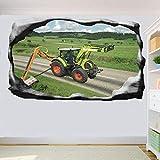 Pegatinas de pared Carretera Cortasetos Tractor 3D Arte Mural Oficina Decoración del hogar