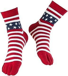 USA Flag Toe Socks, American Stars & Stripes Red White and Blue Socks for Men and Women