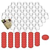 Gouveo - Juego de 48 tarros vacíos, 50 ml, incluye Tapa de rosca roja y libro de recetas para botellas, tarros de mermelada, tarros de conservas, tarros de especias.
