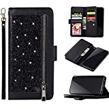 Rann.Bao Funda Compatible con iPhone 6 Plus/6S Plus Cartera Brillante de Piel Flip Cuero Multifuncional Monedero, Negro