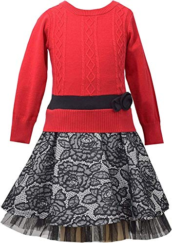 Bonnie Jean Little Girls Red Black Lace Intarsia Cable Knit Drop Waist Skater Dress, LBNA-W3-TDLG-WIN15, Red