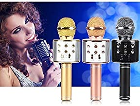 Weltime Wireless Bluetooth Microphone Recording Condenser Handheld Microphone with Bluetooth Speaker Audio Recording for All Android and iOS Devices and Smartphone,Laptops & Computers (Multicolor)