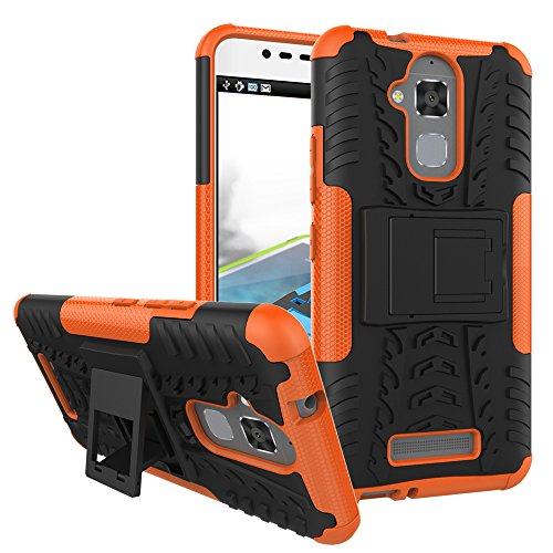TiHen Handyhülle für Asus Zenfone 3 Max ZC520TL Hülle, 360 Grad Ganzkörper Schutzhülle + Panzerglas Schutzfolie 2 Stück Stoßfest zhülle Handys Tasche Bumper Hülle Cover Skin mit Ständer -Orange