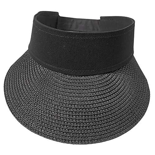 WHITE FANG(ホワイトファング) つば広 つば長 バイザー サンバイザー 麦わら ハット 帽子 おしゃれ レディース CA248 (04:ブラック)