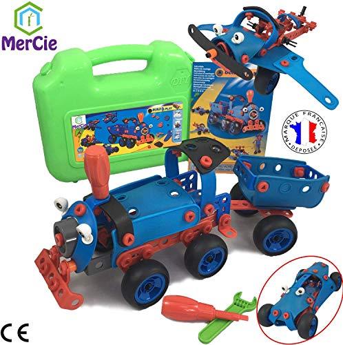 6 in 1 constructiespeelgoed | 130 stuks om trein auto vliegtuig helikopter machine robot te bouwen. Tools + gedetailleerd boekje voor elk model | Engineering speelgoed voor kinderen 5 6 7 8 9 10+ jaar