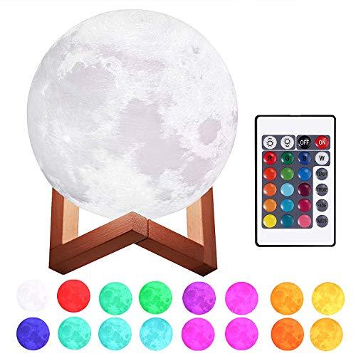 Justech Lámpara de Luna en 3D 15cm Control Remoto y Control Táctil 16 Colores 4 Modos RGB Luz Nocturna Luna LED con Soporte de Madera Carga USB para la Decoración del Dormitorio Regalo para Navidad