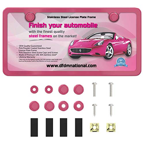 DFDM National Powder Pink Stainless Steel License Plate Frame
