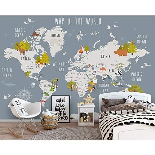 Fototapete 3d effekt Kinder Tapeten Aufkleber Cartoon Weltkarte Fototapete Wandbild 3D Kinderzimmer Schlafzimmer Selbstklebende Vinyl/Seide Tapete-200X140CM