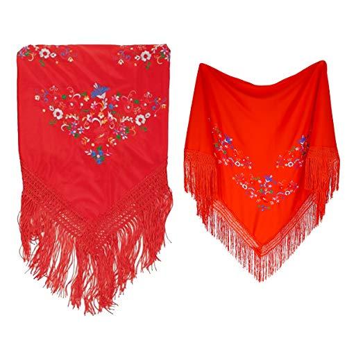 Cisne 2013, S.L. Mantón Bordado en Pico de Manila. Mantones Flamenco Sevillana. Medidas 150x70cm. Diseño Flores. Color Rojo.