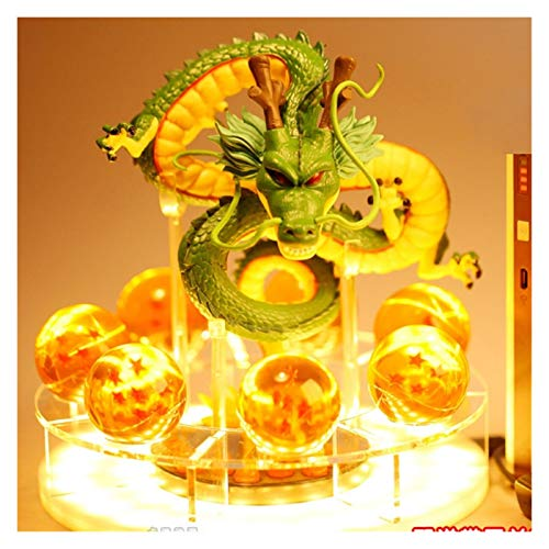 MOLUO 3D Luz de la Noche Acción Dragon Ball Figuras de Bricolaje Conjunto Shenron Dragon Ball Figuras Set Esferas del Dragón + 7pcs 3.5cm Bolas + Figuras LED (Color : B Set)