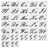 XDLink Lot de 32 Pochoir Letter Alphabet Peinture sur Bois Réutilisable Souple Majuscule Minuscule avec Chiffres et Signes