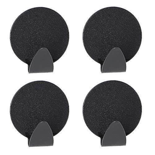 KADAX Ganchos autoadhesivos de metal, toallero, gancho de pared, gancho adhesivo, gancho de metal, gancho de toalla, gancho de albornoz (redondo, negro)