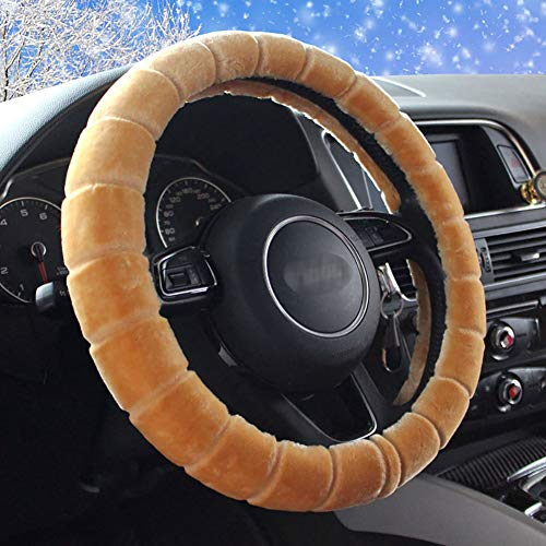 Couverture De Volant De Voiture Chaud Doux Peluche Enjoliveur De Roue Respirant Confortable Four Seasons Universal -37-39Cm,Coffee