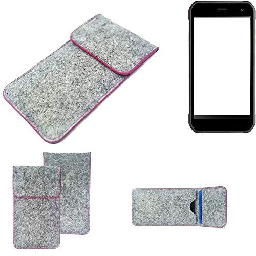 K-S-Trade Handy Schutz Hülle Für Cyrus CS 40 Schutzhülle Handyhülle Filztasche Pouch Tasche Hülle Sleeve Filzhülle Hellgrau Pinker Rand