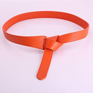 LUKEEXIN Women Wide Waist Belt Belt Double Knotted Pure Leather Wide Belt for Female Skirt Coat Jacket (Color : Orange)