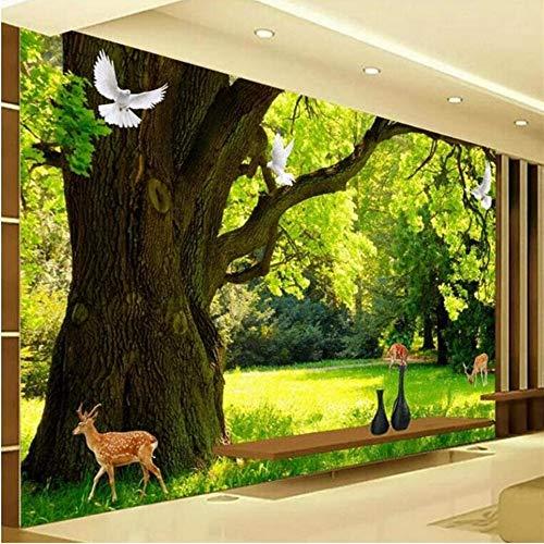Wuyii Gepersonaliseerde achtergrond voor woonkamer, modern en minimalistisch, hout, landschappen, muren, HD-open haard, groen hout, TV-achtergrond, D 250 x 175 cm.