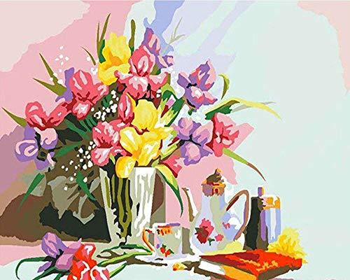 Wzxzf Pintar por números Jarrón de Mesa La Pintura al óleo Digital se Puede Utilizar para la decoración de Arte de Pared de 40 x 50 cm (sin Marco)