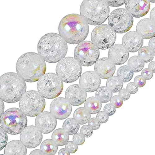 Piedra natural Colorido Blanco Nieve Cracked Crystal Beads 4/6/8/10/12 Mm Para Joyería Hacer DIY Pulsera Blanco 12mm aprox 30beads