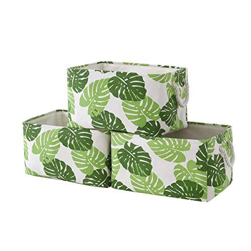 "Tegance Storage Baskets Bins for Organizing, Foldable Sturdy Fabric Basket W/Handles, Large Rectangular Decorative Storage Basket for Shelves Nursery Closet Toy Blanket (3 Pack 15.7x11.8x8.3"")"